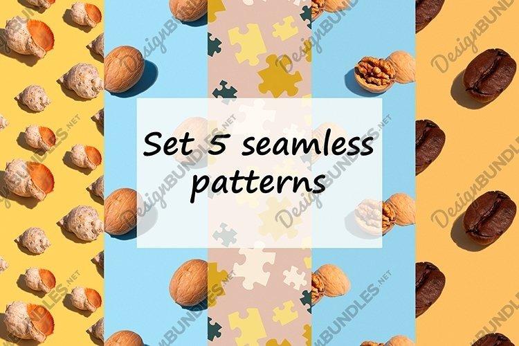 Set 5 seamless patterns. example image 1