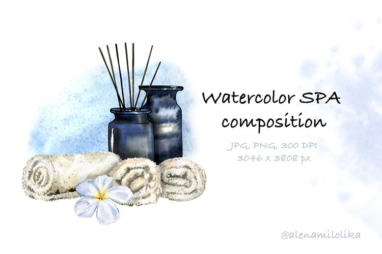 Watercolor Spa compositions. 1 relax card. JPG, PNG example image 1
