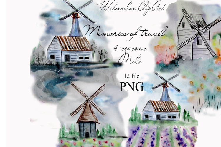 Watercolor Windmill Clipart example image 1