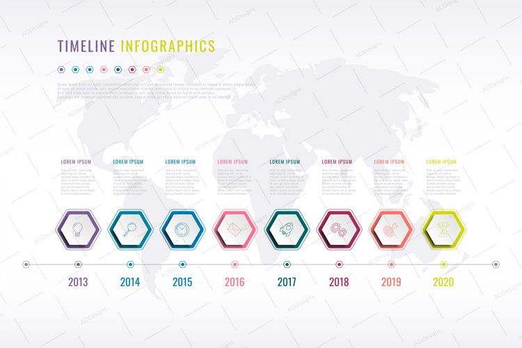 Infographic timeline template with hexagonal elements example image 1