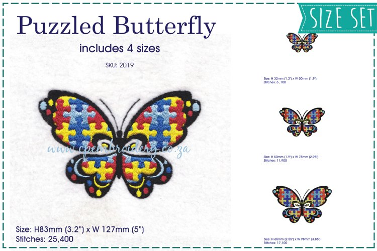 Puzzled Butterfly Embroidery Design