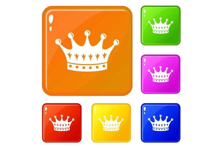 Crown icons set vector color example image 1