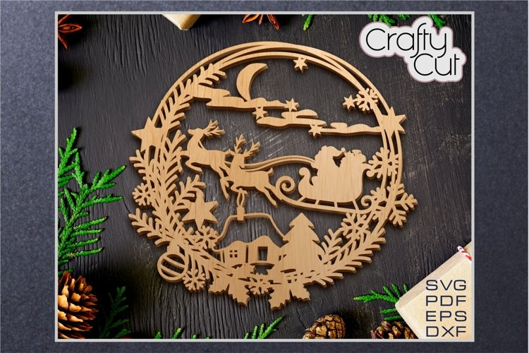 Christmas Wreath - Christmas laser cut decor - SVG file