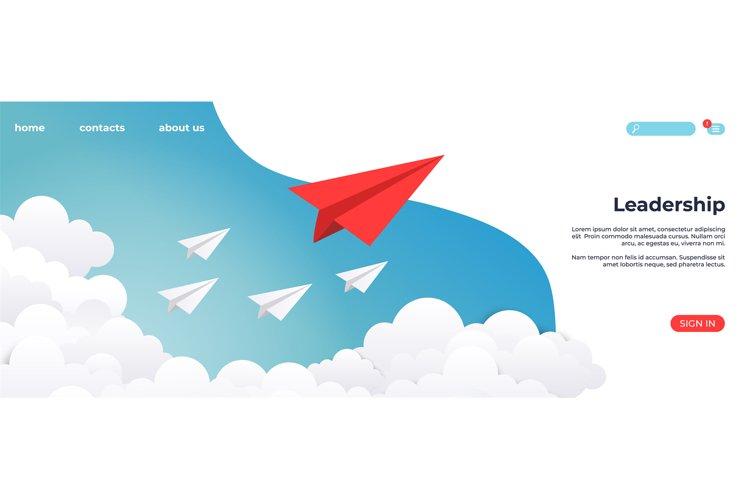 Paper leadership landing. Creative concept idea, business su example image 1