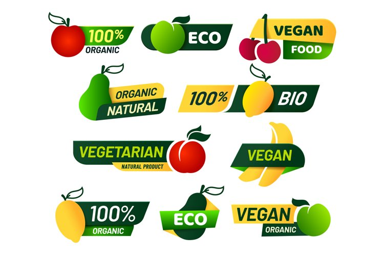 Vegan labels. Green eco food, healthy fresh organic products example image 1