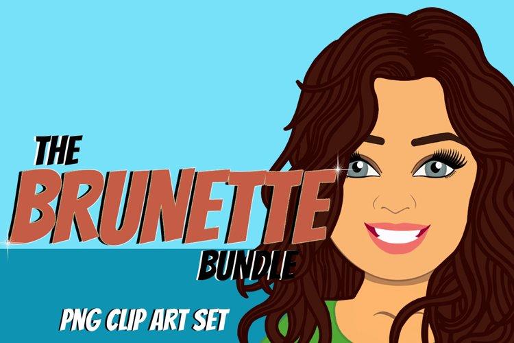 Brunette Woman Clip Art Bundle | Female Avatar | Graphic