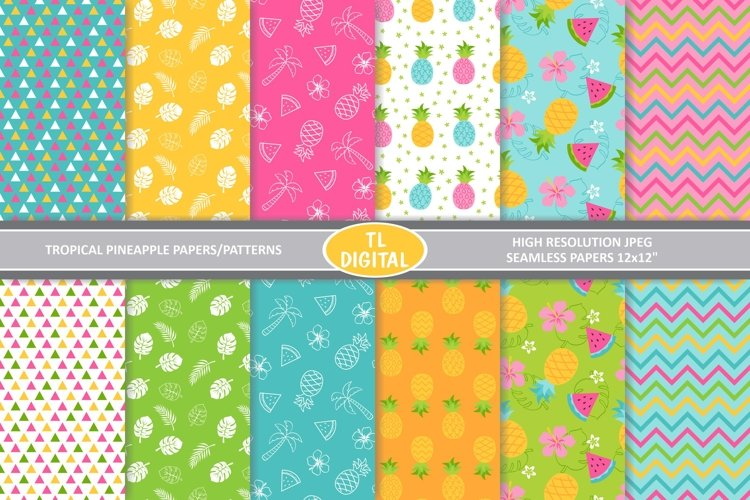 Tropical Pineapple Pattern| Paper Pack - 12 Seamless JPEG example image 1
