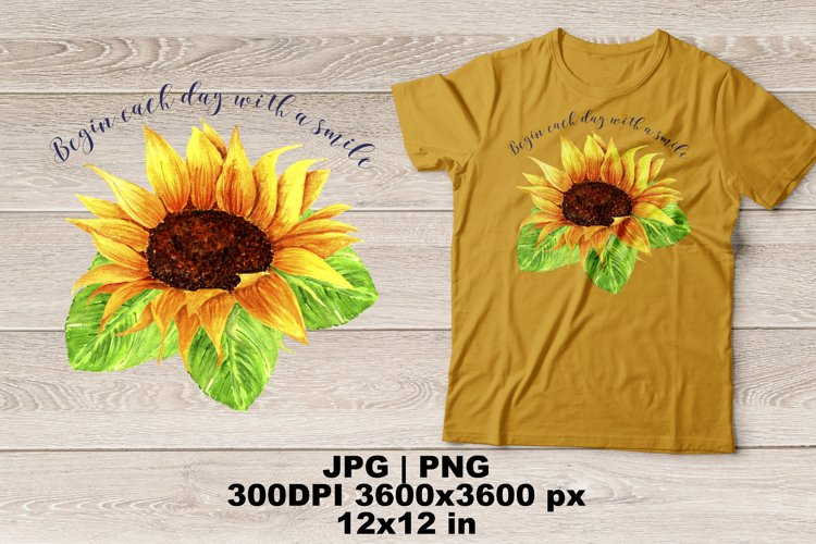 Sunflower Watercolor Sublimation Design example image 1