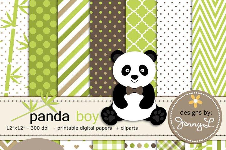 Panda Bear Boy Digital Papers and panda Clipart, Bamboo example image 1