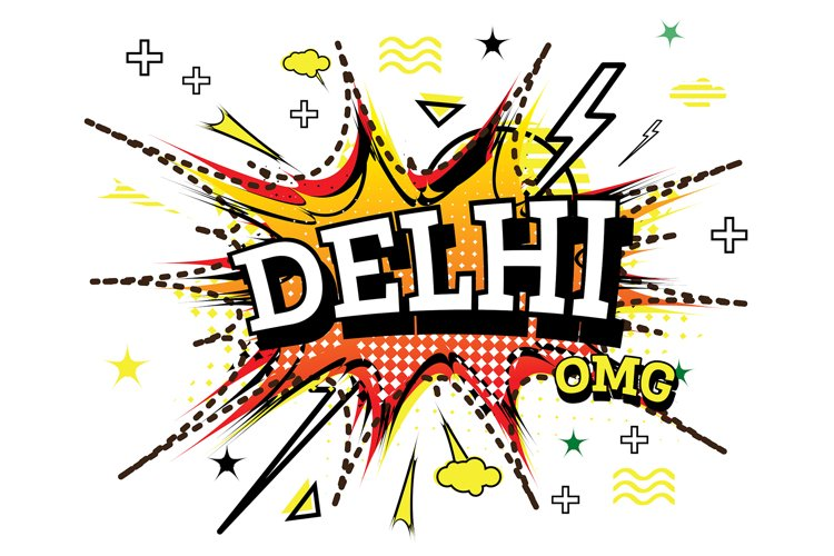 Delhi Comic Text in Pop Art Style Isolated example image 1