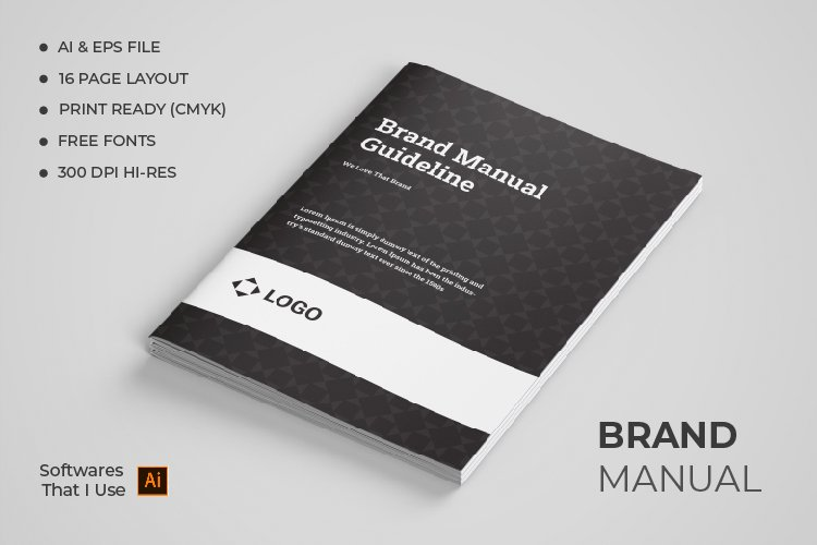 Brand Manual Template, Simple style and modern layout