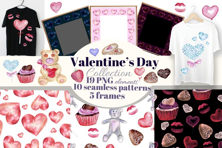 Valentine's Day watercolor clipart. Seamless pattern, frames example image 1