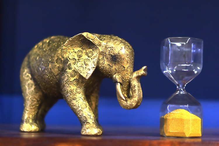 Golden elephant and hourglass on a blue background example image 1