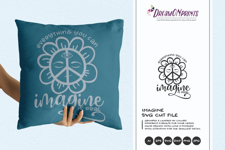 Imagine SVG   Hippie Peace Sign   Inspirational SVG example image 1