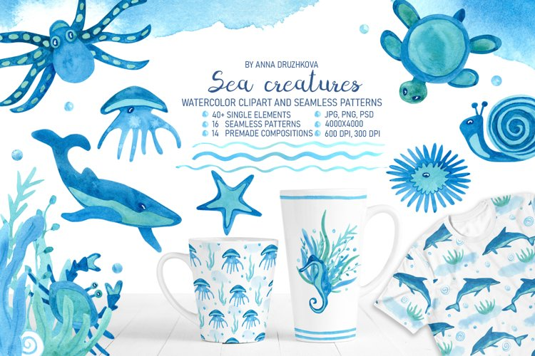 Sea creatures watercolor collection