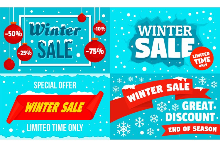 Winter sale banner set, flat style example image 1