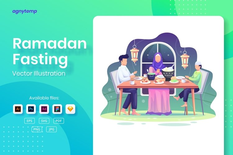Ramadan Fasting concept flat Illustration example image 1
