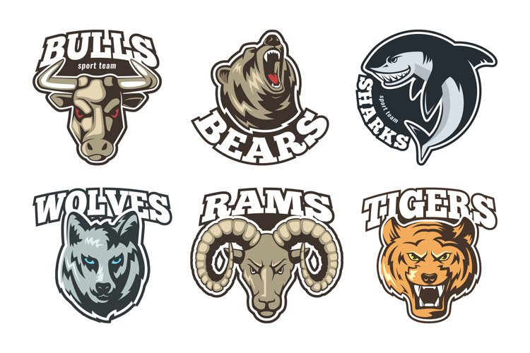 Sport labels set with different animals. Company mascot desi example image 1