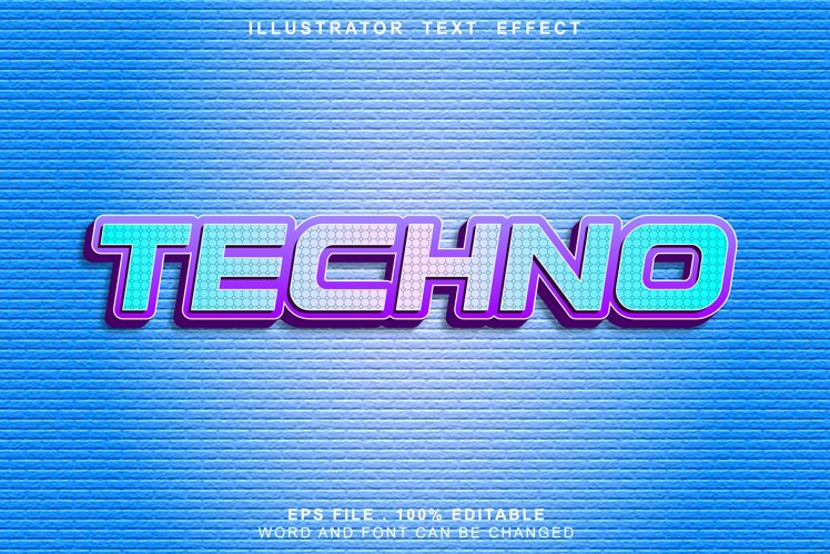 techno text effect editable example image 1