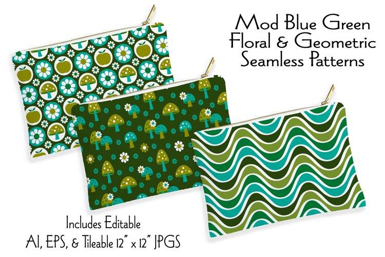 Mod Blue Green Floral & Geometric Seamless Patterns