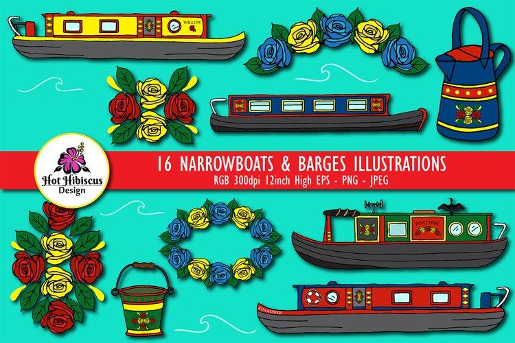 Canal Narrowboats Barges and Houseboats Illustration Bundle