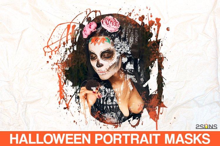 20 Beautiful portrait paint masks, halloween, Photoshop example image 1