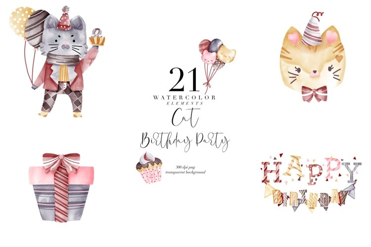 Watercolor Birthday Cats, Bday party, cat transparent PNG