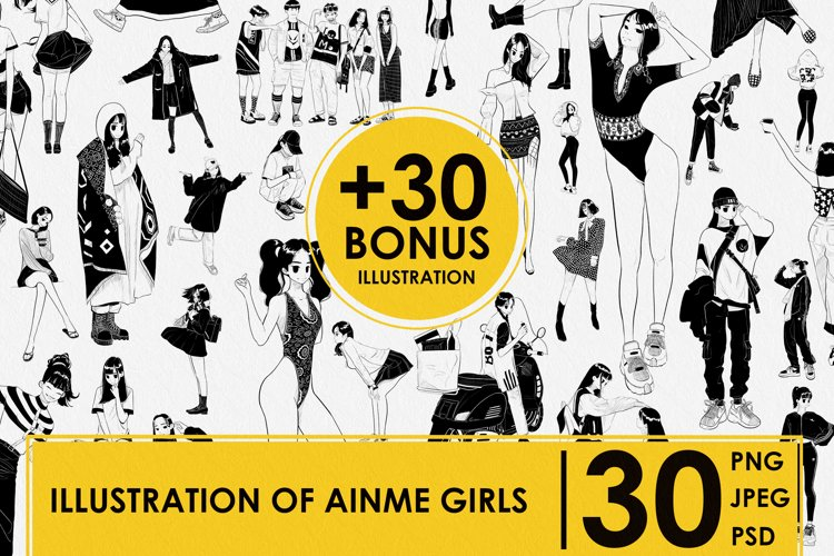 BONUS. ILLUSTRATION 30. ANIME GIRLS. MANGA GIRLS. DIGITAL example image 1