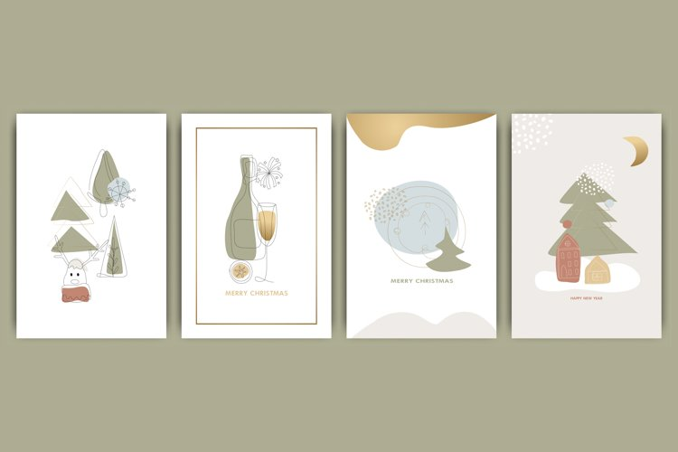 Set of New Year, Christmas cards example image 1