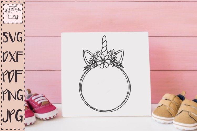 Magical Unicorn, flower Horn, Circle monogram