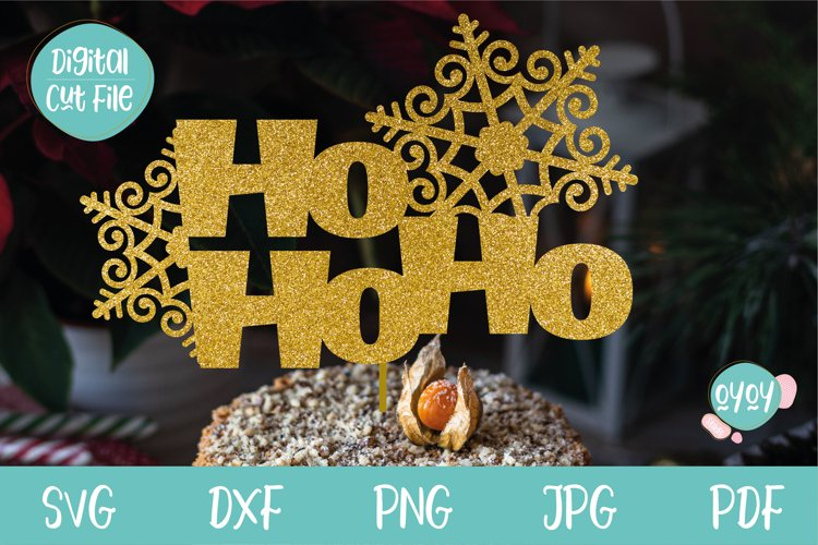 Christmas Cake Topper SVG with Snowflakes example image 1