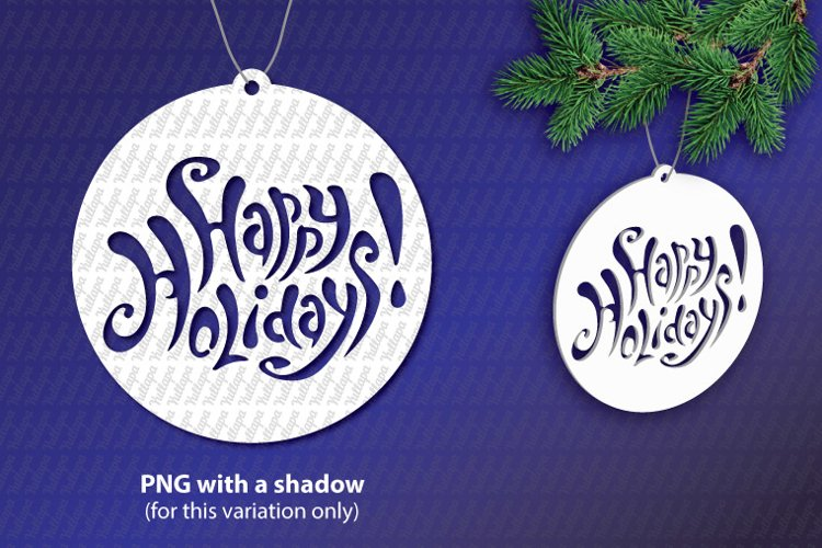 Happy Holidays SVG lettering, New Year festive design example image 1