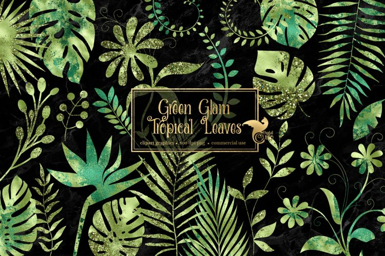 Green Glam Tropical Leaves Clipart example image 1