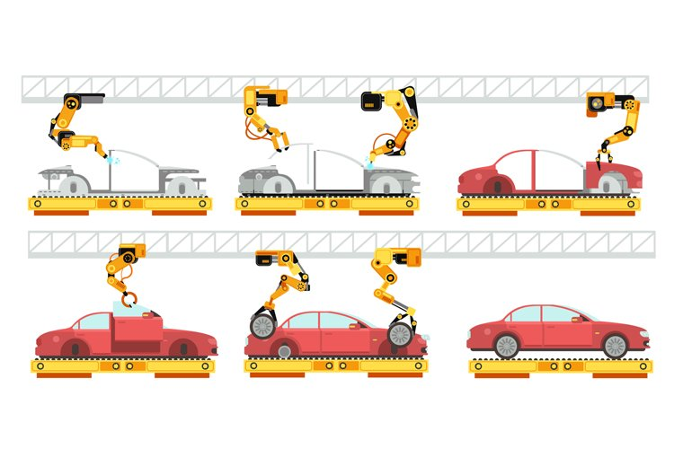 Car factory. Robotic automotive assembly line with automobil example image 1