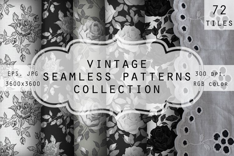 Collection of vintage floral seamless patterns. example image 1