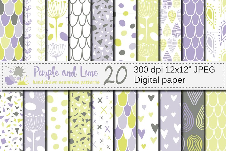 Purple and Lime Green Seamless Digital Paper / Pastel Hand drawn patterns / Scales, Hearts, Leaves, Terrazzo Backgrounds