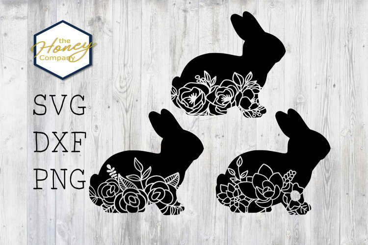 Easter Bunny Flower Cut Out SVG DXF PNG Cutting Machine File