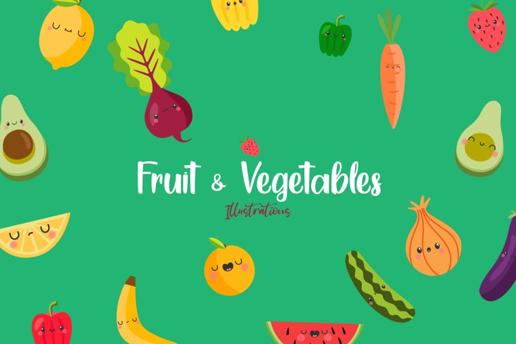 Fruit and Vegetables Kawaii Graphics Illustrations