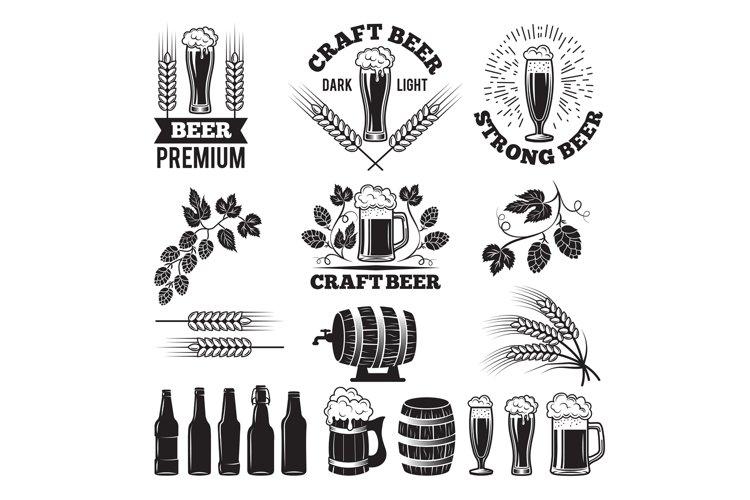 Beer pub labels set. Logo design elements. Brewery example image 1