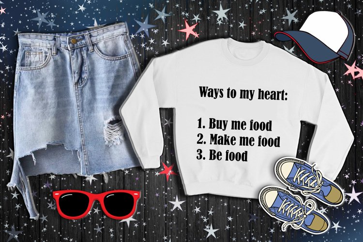 Ways to my heart, be my food, digital PNG SVG AI EPS DXF example image 1