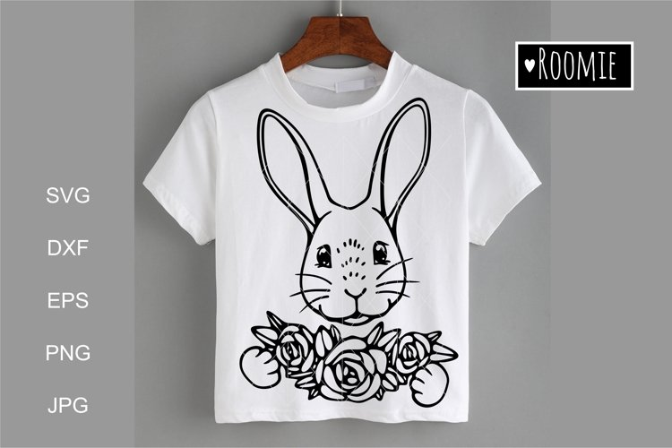 Happy Easter bunny SVG, Rabbit face with flowers Cricut example image 1