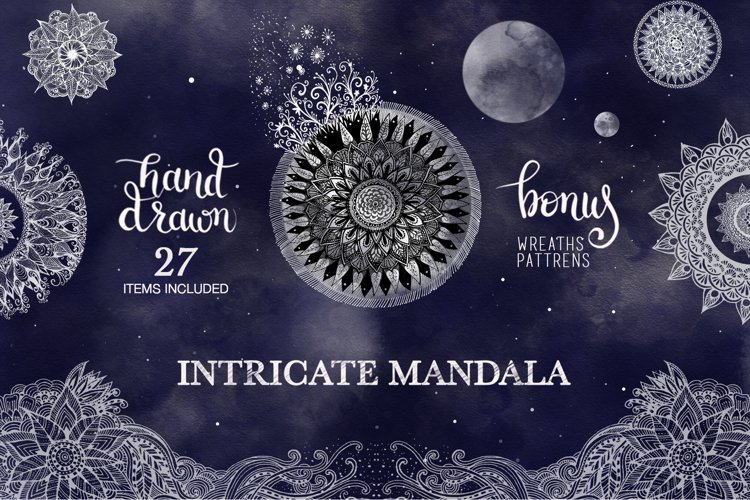 Floral Mandala Hand Drawn Set example image 1