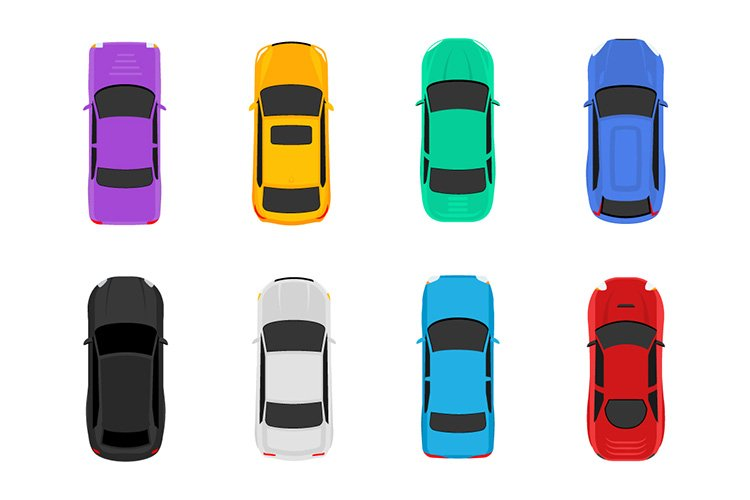 Vector car top view icons in flat style