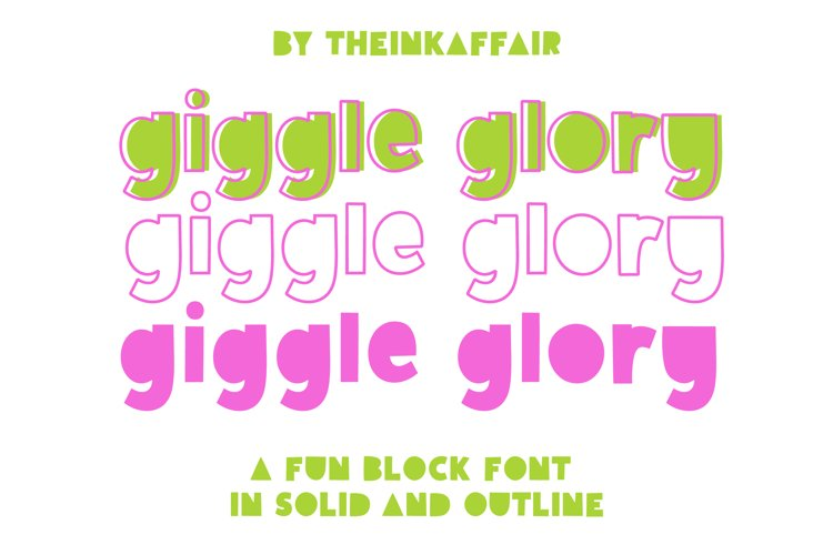 Giggle Glory, a fun block font example image 1
