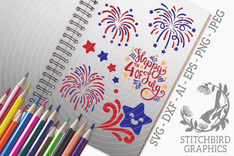 Independence Day Fireworks SVG, Silhouette Studio, Cricut example image 1