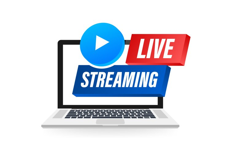 Live Streaming label on laptop screen. Can be used example image 1