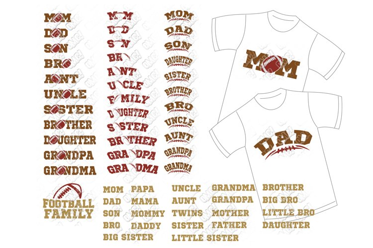 Football Family SVG Shirt Bundle in SVG, DXF, PNG, EPS, JPEG example image 1