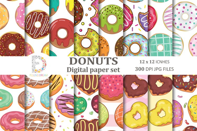 Donuts Digital Papers  12 x 12 inches 300DPI JPG files example image 1