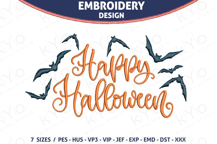 Hand Lettered Happy Halloween Embroidery design example image 1