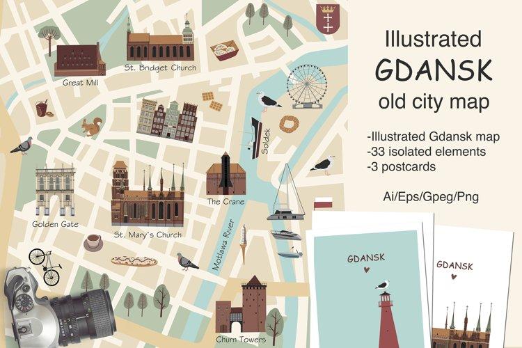 Illustrated Gdansk old city map